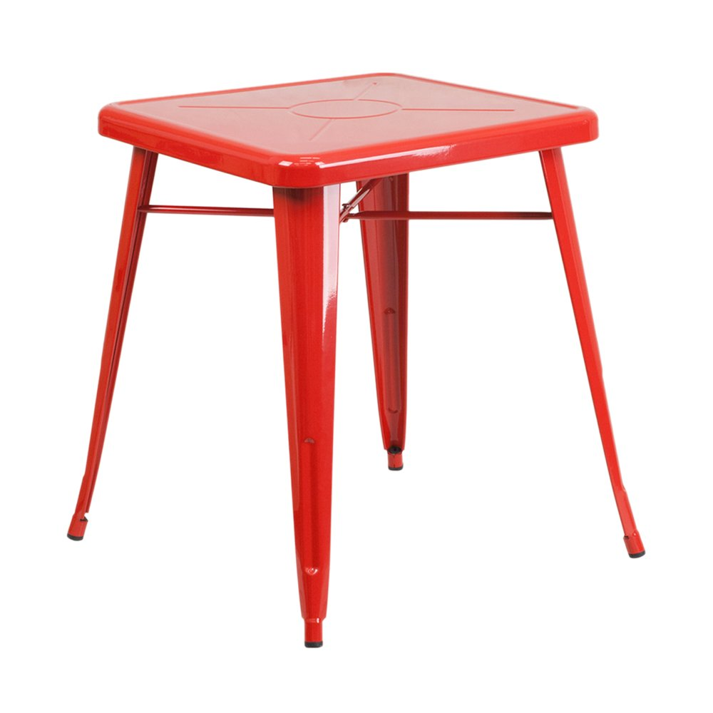 Offex OFX-367870-FF 23.75'' Top Square Metal Indoor Outdoor Table - Red by Offex
