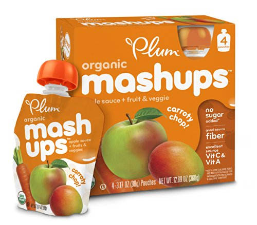 Puree Plum - Plum Kids Organic Fruit and Veggie Mashups, Carroty Chop, 3.17 Ounce, 4 Count (Pack of 6)