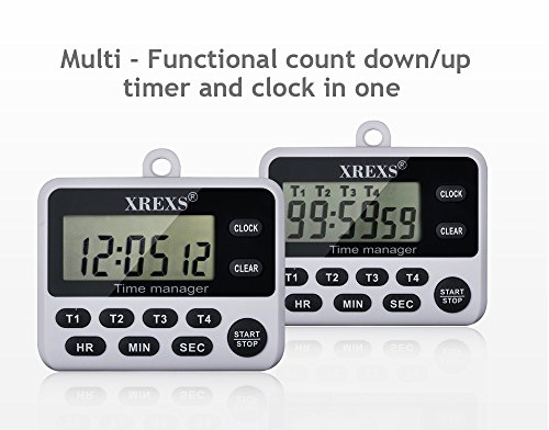 Amazon Com Xrexs 4 Channels Digital Kitchen Timer Clock Co Ng Timer With Large Lcd Display 4 Groups Simultaneous Timing Countdown Up Pocket Timer