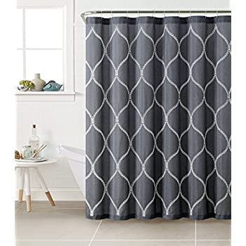 Fabric Shower Curtain With White Embroidered Trellis Design Dark Blue