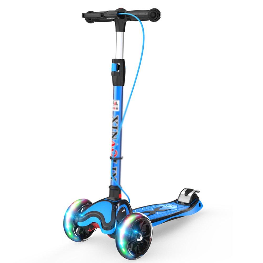 男の子/女の子/子供のための212歳の手すりを備えたキックスクーター、4輪の傾きとステアリングフラッシュのスクーター ++ (色 : 黒) B07J1758HL 青 青