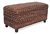 BirdRock Home Abaca Storage Ottoman Bench | Bed Storage Trunk | Espresso Bench | Chest | Safety Hinges