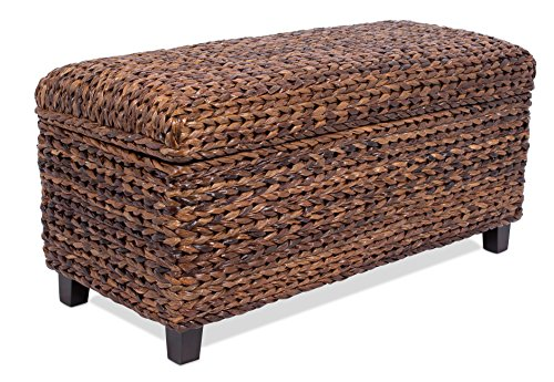 BirdRock Home Abaca Storage Ottoman Bench | Bed Storage Trunk | Espresso Bench | Chest | Safety Hinges ()