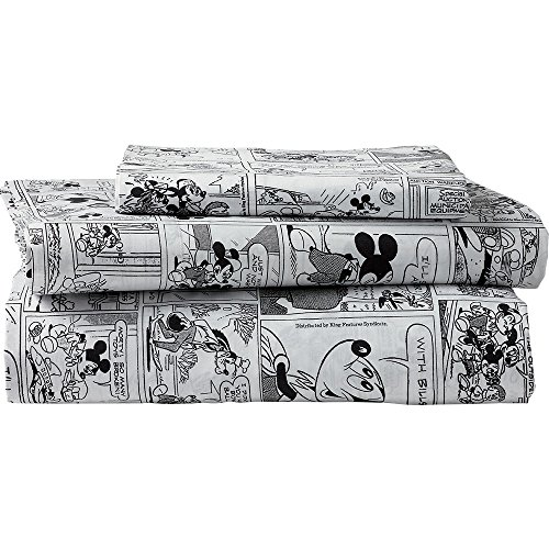 Ethan Allen | Disney Mickey Mouse Comic Strip Sheet Set, Mickey's Ears (Black), King by Ethan Allen