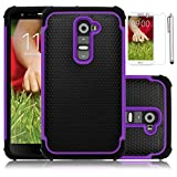 LG G2 Case,EC™Deluxe Hybrid TUFF Rugged Shockproof Rubber Case,Dual Layered Rugged Heavy Duty Impact Case Cover for LG G2 with Screen Protector + Stylus (Purple)