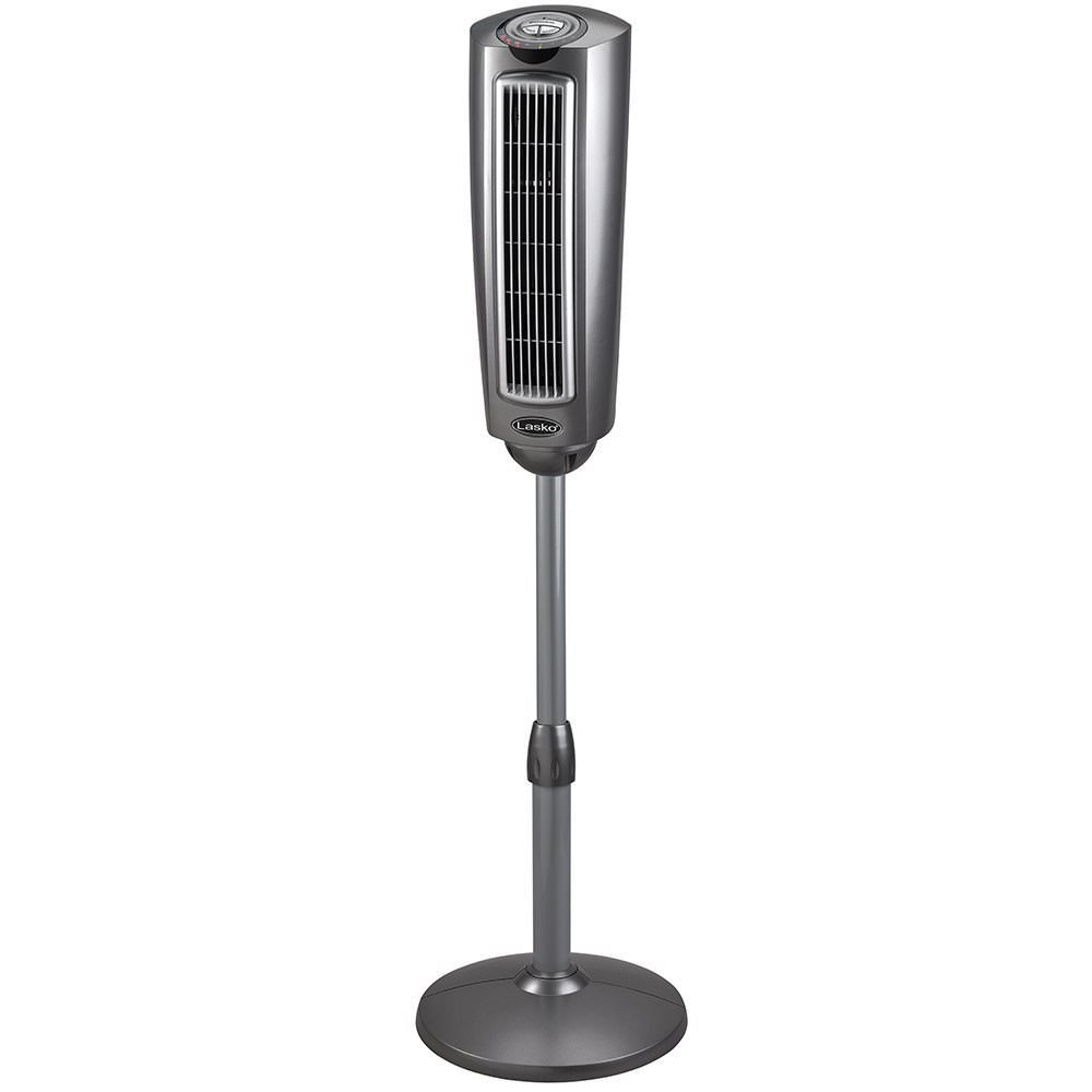 Lasko 2535 52″ Space-Saving Pedestal Tower Fan with Remote Control - Features Built-in Timer and Wide Spread Oscillation