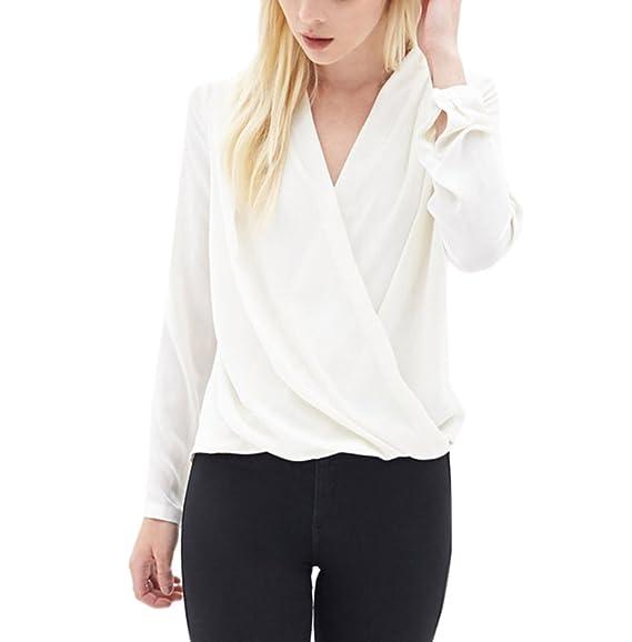 Camisas Mujer Manga Larga V Cuello Gasa Tops Primavera Elegantes Ropa Dama Moda Fashionista Color Sólido Blusas Camiseta Negocios: Amazon.es: Ropa y ...