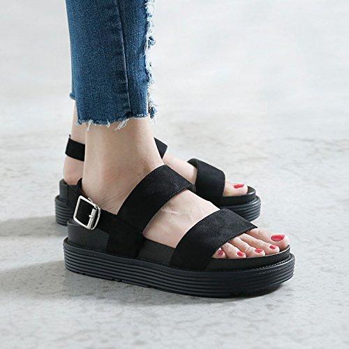 Mujeres Sandalias Verano informal plataforma para Zapatos Nuevos Negro de Sandalias salvajes Xing Lin mujer estudiantes 5zzq8