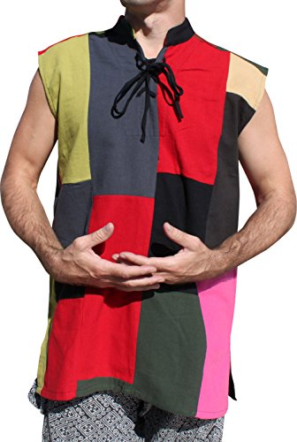 RaanPahMuang Renaissance Jester Sleeveless Sack Patch Muang Cotton Vest, Small, Bright and Dark