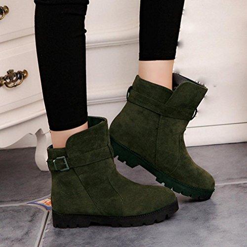 Botas Zapatos Cálido mujer Honestyi para Verde artificial Martin la Cuero Mujer Plástico para Hebilla Match Invierno Boots Solid nieve Botines 11ZXrxw
