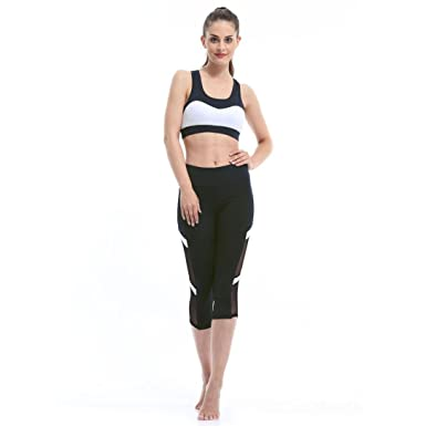 44e40f42fbbee Womens Mesh Power Flex Capri Workout Yoga Pants Running 3/4 Tights Active  Leggings: Amazon.co.uk: Clothing