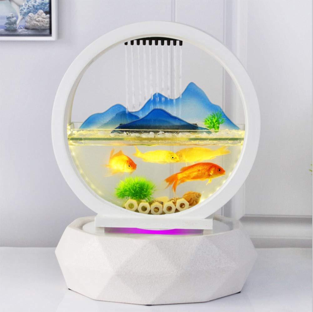 Mini Desktop Fish Tank Fuente De Rocalla De Acuario Decoraciones para El Hogar Creativo Sala De Estar De Oficina Apertura De Regalo Adornos Suerte: ...