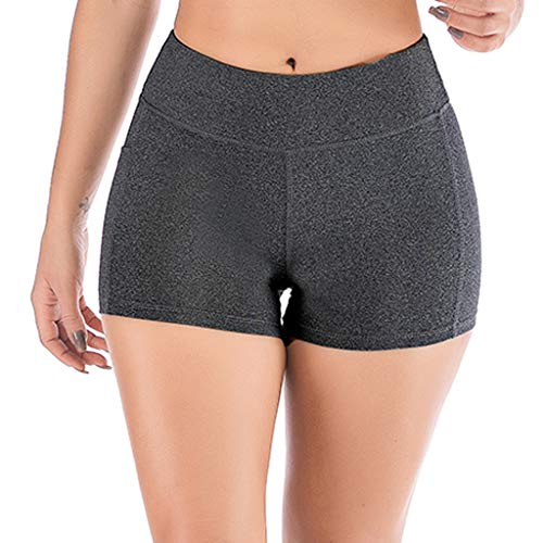 Tomppy Women Workout Athletic Shorts Summer Sports Running Yoga Skinny Short Leggings Pants with Side Cell Phone Pockets Gray