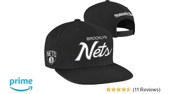 258faa05d7c Amazon.com   Mitchell   Ness Men s The Brooklyn Nets Solid Script Snapback  Cap One Size Black   Mitchell And Ness Snapbacks   Clothing
