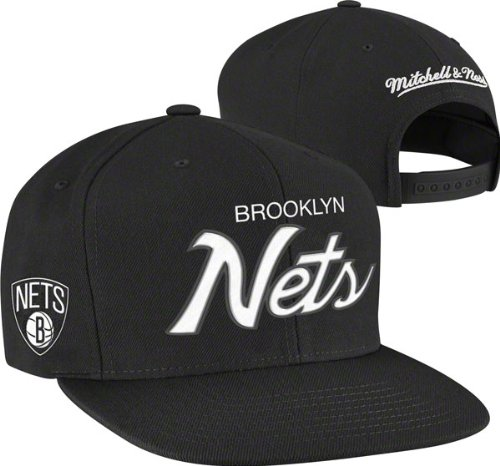 bfee84c8d37 Mitchell   Ness Men s The Brooklyn Nets Solid Script Snapback Cap One Size  Black