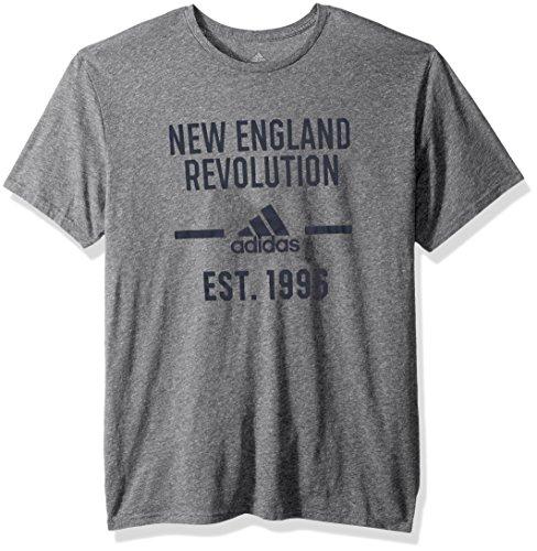 adidas MLS New England Revolution Adult Men Simply Put Tri-Blend S/Tee, Large, Dark Gray Heathered
