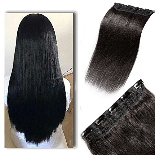 "100% Real Hair Extensions Clip in Remy Human Hair 22"" 55g One-piece 5 Clips Long Straight Hair Extensions for Women Wide Weft Soft Silky #1B Off Black"