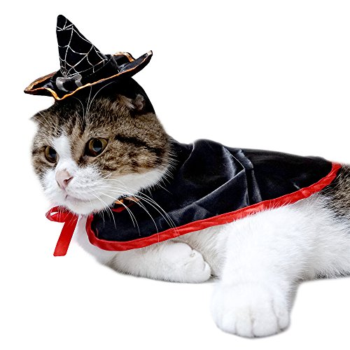 Fedex Costume Halloween (Pet Dog Cat Halloween Costumes, Party Christmas Special Events Costume, Funny Pet Cowboy Outfit Clothing for Dog&Cat (Hat + Vampire Cloak Set))