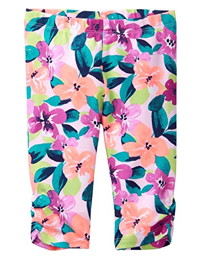Gymboree Toddler Girls' Side Cinched Capri Legging, Bright Coral Floral, 2T - Floral Kids Capris