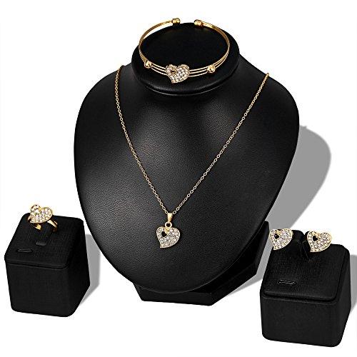 Yanvan Lady Women Fine Jewelry Set Statement, Personality Rhinestone Necklace Pendant Bracelet Ring Earrings Jewelry Set