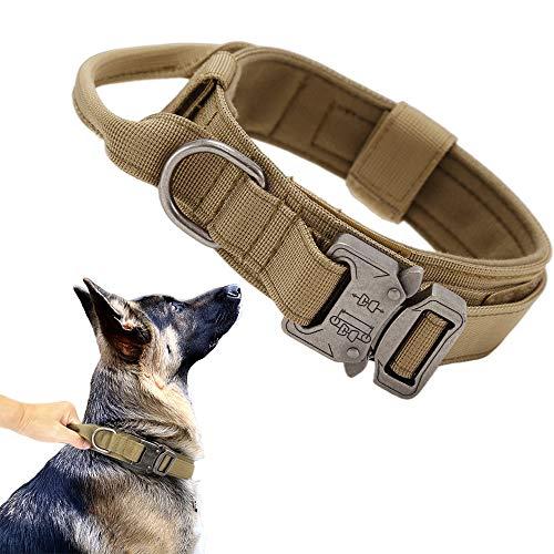 Tactical Dog Collar Military Dog Collar Adjustable Nylon Dog Collar Heavy Duty Metal Buckle with Handle for Dog Training…