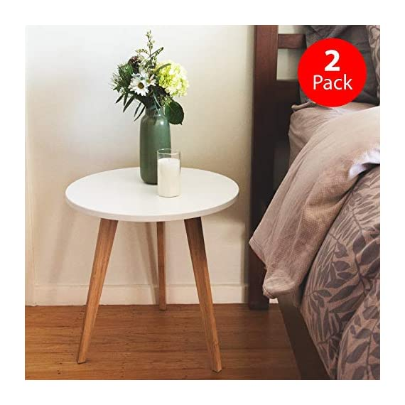 STNDRD. Bamboo End Table: Mid-Century Modern. Bedside Nightstand or Living Room Side Table (Set of 2) - NATURE-FRIENDLY. The STNDRD. 3 legged bamboo side table is an environmentally friendly piece of furniture. Bamboo is one of the many renewable resources in the planet. It takes only 5 years to regrow a bamboo tree compared to other types of hardwood. RUSTIC FURNITURE. This 3 legged bamboo furniture is a versatile piece. It is built from bamboo wood strong enough to hold some indoor plants. The 3 light colored bamboo legs is manufactured without using any method to alter its natural rustic look. PROVIDES COMPETITIVE PRICING ON FURNITURES. Our bamboo table top furniture comes at a competitive price compared to other wood furniture sets. Bamboo is a low cost raw material so it owns a big price advantage over other kinds of furniture sets. - nightstands, bedroom-furniture, bedroom - 51J%2Bbe0dyeL. SS570  -