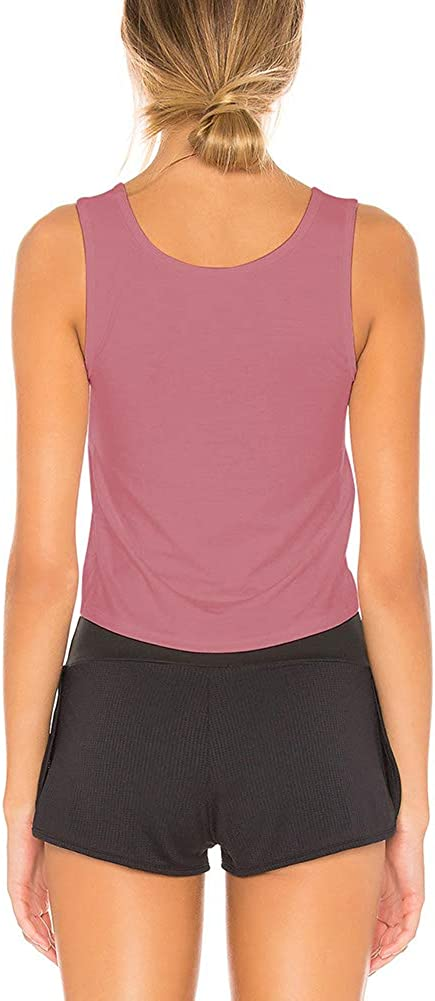 Bestisun Cute Crop Top Workout Shirts Tie Knot Tank Sports Workout Clothes for Gym Women
