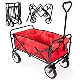 Yaheetech Multicolor Collapsible Folding Utility Wagon Garden Cart Shopping (Red)