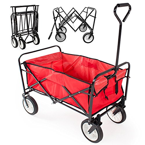 Cheap Yaheetech Multicolor Collapsible Folding Utility Wagon Garden Cart Shopping (Red)
