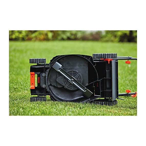 BLACK+DECKER Electric Lawn Mower, 10 -Amp, 15-Inch (BEMW472BH) 11 IMPROVED ERGONOMICS: Comfort grip handle makes the lawn mower easy to maneuver BETTER CLIPPING COLLECTION: Our winged blade achieves 30% better clipping collection NO MORE PULL CORDS: Push-button start makes starting the lawn mower a breeze