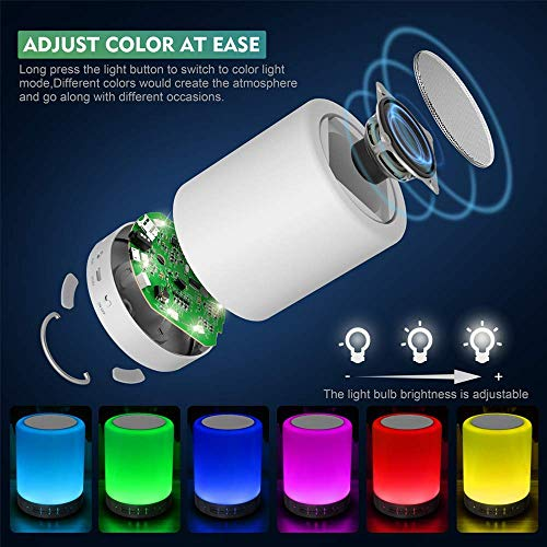 Elecstars Touch Bedside Lamp – with Bluetooth Speaker, Dimmable Color Night Light, Outdoor Table Lamp with Smart Touch…