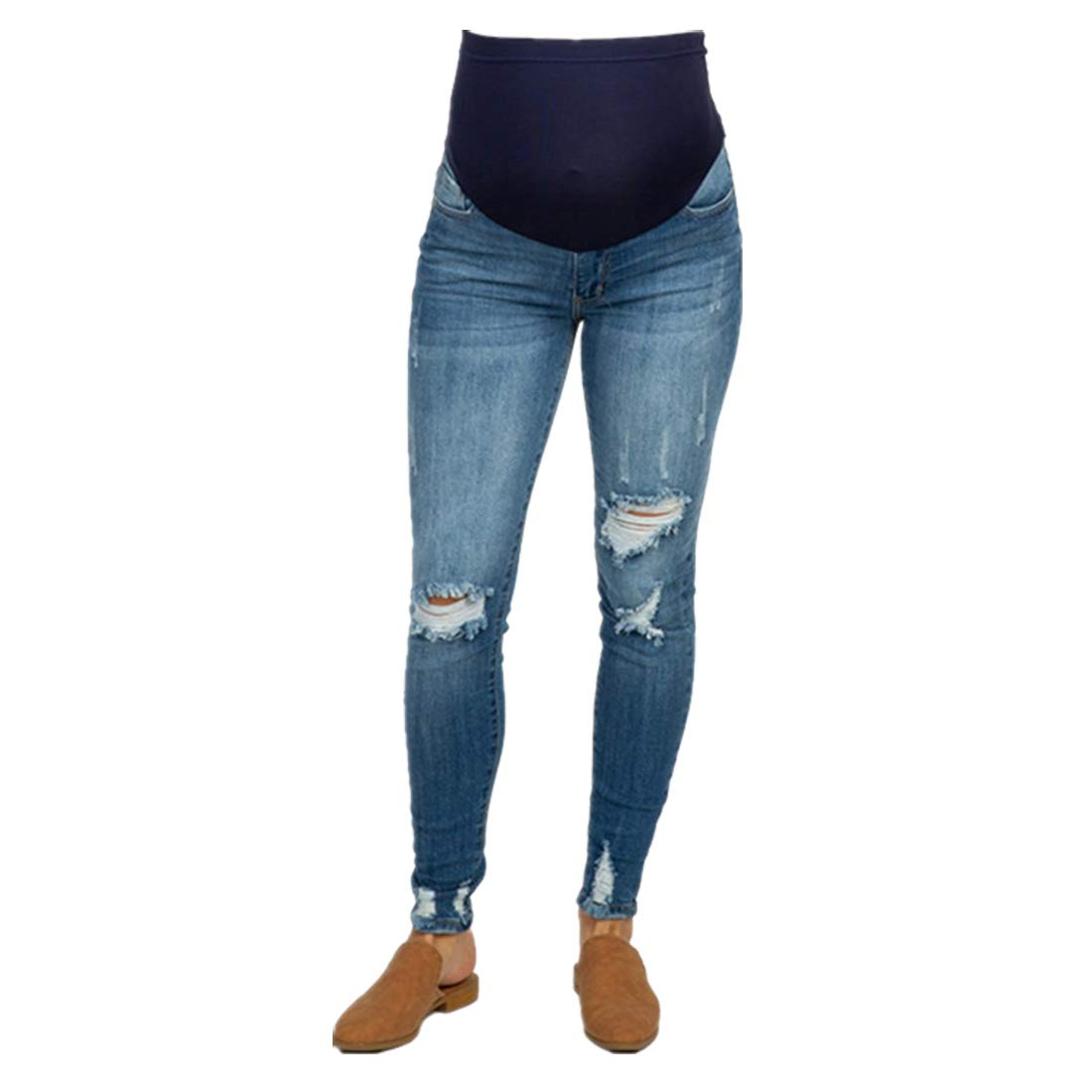 YoungMom Maternity Skinny Jeans Maternity Pants Womens Comfy Stretchy Ripped Distressed Denim Jeans