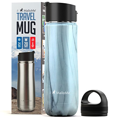 MalloMe Stainless Steel Coffee Travel Mug - 20 oz Vacuum Insulated Water Bottle Thermos Flask Cup Combo - Triple Walled Tumbler, 7 Colors, Two BPA Free Leak Proof Lids - Longhorns Stainless Texas Steel Thermos