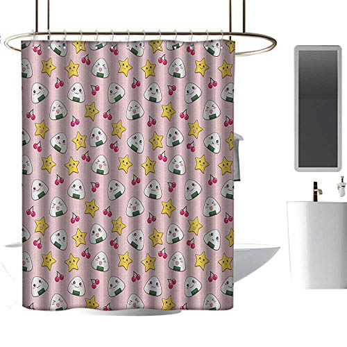 (Qenuan Extra Wide Shower Curtain Anime,Funny Pattern with Japanese Rice Balls Cherries and Stars Childish Food Cartoon Print, Multicolor,Print Polyester Fabric Bathroom Decor Sets 36