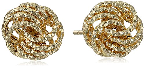 14k Yellow Gold Diamond-Cut Love Knot Italian Stud Earrings by Amazon Collection (Image #1)