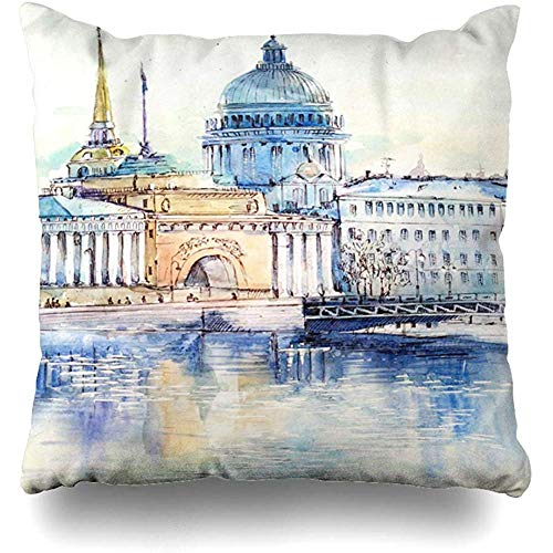 Throw Pillow Cushion Cover Case Cathedral Watercolor Saint City St Petersburg View Admiralty Artistic Capital Design Home Decor Design Square Size 18