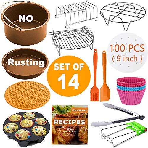 Air Fryer Accessories XL for Gowise Phillips Cozyna Ninja Gourmia Zeny, Set of 14 for 4.2/4.5/5.5/5.8/6.5 QT with Recipe Cookbook, Rust Proof 8'' Cake Barrel, Pizza Pan, 9'' Air Fryer Liners, Silicone Cupcake Mold, Baking Cups, Plate Gripper, FDA Approved