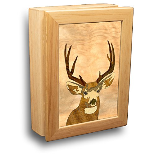 MarqART Deer Wood Art Gift Trinket Box & Jewelry Boxes - Handmade USA -Unmatched Quality - Unique, No Two are The Same - Original Work of Wood Art (#4501 Head Buck 4x5x1.5)