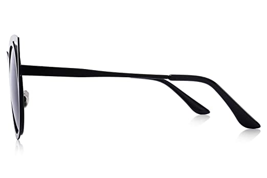 e5bbd6d072bb Amazon.com  MERRY S Cat Eye Sunglasses Round Metal Cut-Out Flash Mirror Lens  Metal Frame Sun glasses S8064 (Black