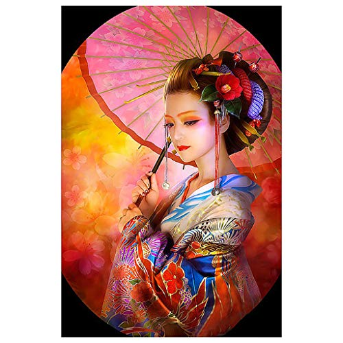 Mikilon 5D DIY Diamond Painting Diamond Embroidery Full Drill Home Decor (12x16 inches) (Japanese Woman)