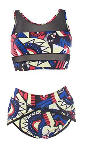Gemijack Women's African Print Bikini Mesh Blocked Tank Top Swimsuit Two Piece Swimwear