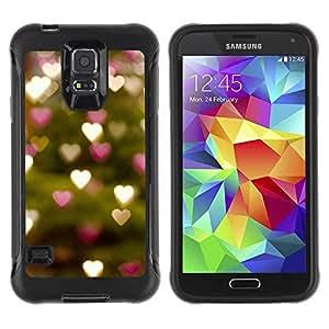 Suave TPU Caso Carcasa de Caucho Funda para Samsung Galaxy S5 SM-G900 / Tree Lights Hearts Green Blurry / STRONG