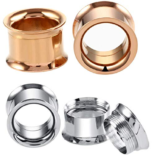 316L Surgical Steel Internally Threaded Ear Tunnel Plugs Piercing Jewelry Screw Double Flared Expander Stretcher Earrings 2Pairs Set (2g(6mm))