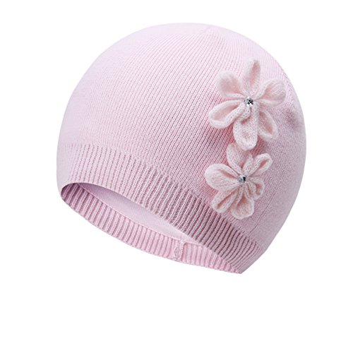 vivobiniya Toddler Girl's Winter Knitted Cap Flower Hat Pink and White 0-6T (0-12M(Head Circumference 15.74-17.3in, Pink) by vivobiniya
