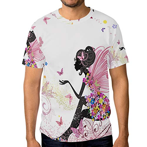 Lovexue Flower Fairy Butterflies T Shirts for Men Top Tee Crew Neck Unisex Tshirts - T-shirt Butterfly Fairy