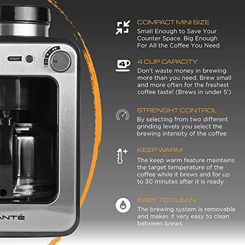 Viante CAF-50 Grind and Brew Coffee Maker with built in Coffee Grinder. Bean to Cup Machine Uses Whole Coffee Beans or Ground Coffee. 4 Cups Glass Carafe, Coffee Strength Selector. Compact Size