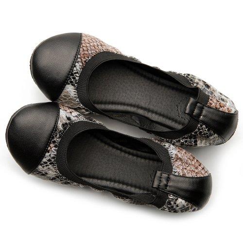 Ollio Femmes Ballet Conduite Chaussure Confort Serpent Motif Multi Couleur Plat Lumière