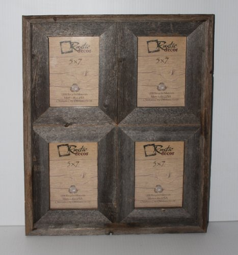 5×7 – 2.5″ Wide Reclaimed Rustic Barnwood Collage Photo Frame – Holds 4 Photos Review