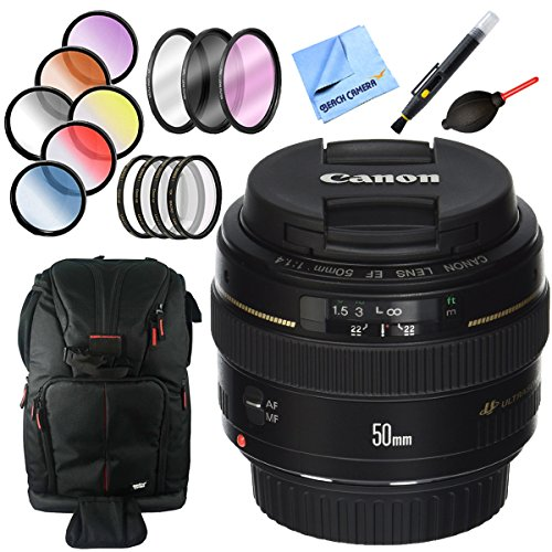 Canon EF 50mm f/1.4 USM Standard + Medium Telephoto Lens with 58mm Filter Sets Plus Accessories Bundle by Beach Camera