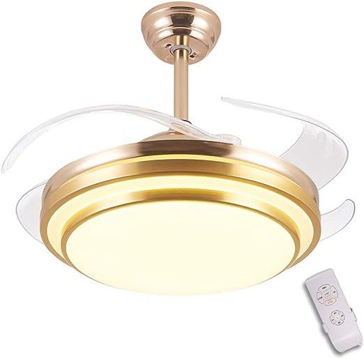 GaoHX 42 Pulgadas luz del Ventilador de Techo, Dormitorio salón Ventilador de Techo con luz LED Incorporado y Mando a Distancia, con 4 aspas Transparentes, LED 36 W, 3 velocidades, 3 Colores, Dorado: Amazon.es: Hogar